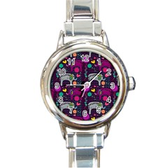 Love Colorful Elephants Background Round Italian Charm Watch by Nexatart