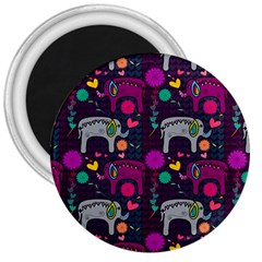 Love Colorful Elephants Background 3  Magnets by Nexatart