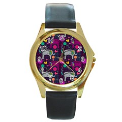 Love Colorful Elephants Background Round Gold Metal Watch by Nexatart