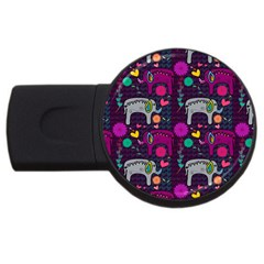 Love Colorful Elephants Background Usb Flash Drive Round (4 Gb) by Nexatart