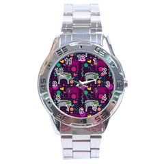 Love Colorful Elephants Background Stainless Steel Analogue Watch by Nexatart