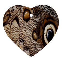 Butterfly Wing Detail Heart Ornament (two Sides) by Nexatart