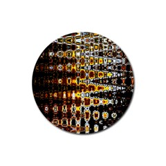 Bright Yellow And Black Abstract Rubber Coaster (round)  by Nexatart