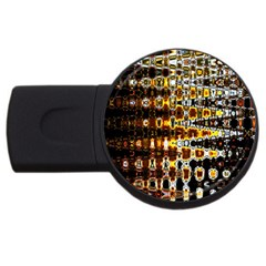 Bright Yellow And Black Abstract Usb Flash Drive Round (2 Gb)