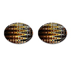 Bright Yellow And Black Abstract Cufflinks (oval) by Nexatart