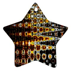 Bright Yellow And Black Abstract Star Ornament (two Sides) by Nexatart