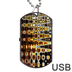 Bright Yellow And Black Abstract Dog Tag Usb Flash (one Side) by Nexatart