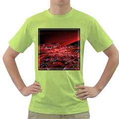 Red Fractal Valley In 3d Glass Frame Green T Shirt by Nexatart