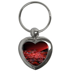 Red Fractal Valley In 3d Glass Frame Key Chains (heart)  by Nexatart