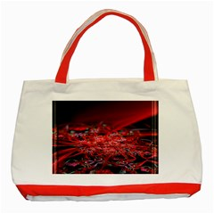Red Fractal Valley In 3d Glass Frame Classic Tote Bag (red)