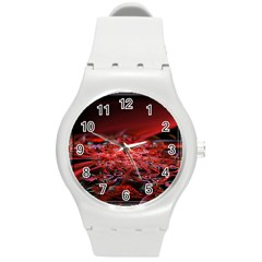 Red Fractal Valley In 3d Glass Frame Round Plastic Sport Watch (m) by Nexatart