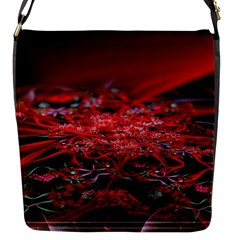 Red Fractal Valley In 3d Glass Frame Flap Messenger Bag (s) by Nexatart