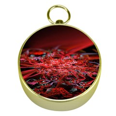 Red Fractal Valley In 3d Glass Frame Gold Compasses by Nexatart