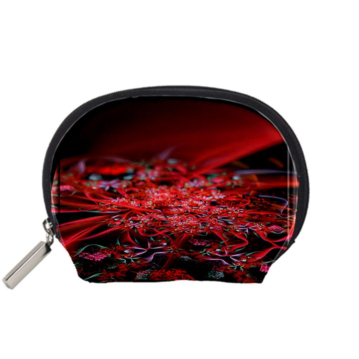 Red Fractal Valley In 3d Glass Frame Accessory Pouches (Small)