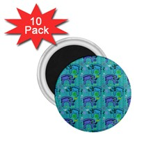 Elephants Animals Pattern 1 75  Magnets (10 Pack)  by Nexatart