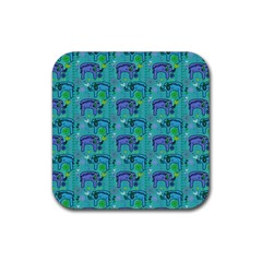 Elephants Animals Pattern Rubber Coaster (square)  by Nexatart