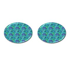 Elephants Animals Pattern Cufflinks (oval) by Nexatart