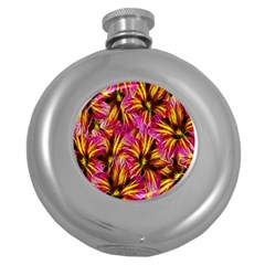 Floral Pattern Background Seamless Round Hip Flask (5 Oz) by Nexatart