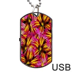 Floral Pattern Background Seamless Dog Tag Usb Flash (one Side) by Nexatart