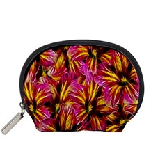 Floral Pattern Background Seamless Accessory Pouches (small)  by Nexatart