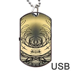 Atmospheric Black Branches Abstract Dog Tag Usb Flash (two Sides) by Nexatart