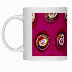 Digitally Painted Abstract Polka Dot Swirls On A Pink Background White Mugs