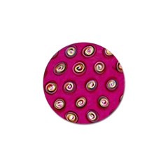 Digitally Painted Abstract Polka Dot Swirls On A Pink Background Golf Ball Marker (10 Pack) by Nexatart