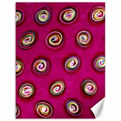 Digitally Painted Abstract Polka Dot Swirls On A Pink Background Canvas 18  X 24   by Nexatart