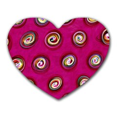 Digitally Painted Abstract Polka Dot Swirls On A Pink Background Heart Mousepads by Nexatart