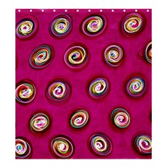 Digitally Painted Abstract Polka Dot Swirls On A Pink Background Shower Curtain 66  X 72  (large)