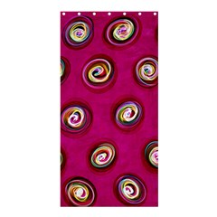 Digitally Painted Abstract Polka Dot Swirls On A Pink Background Shower Curtain 36  X 72  (stall)  by Nexatart