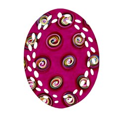 Digitally Painted Abstract Polka Dot Swirls On A Pink Background Oval Filigree Ornament (two Sides) by Nexatart