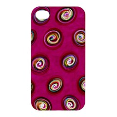 Digitally Painted Abstract Polka Dot Swirls On A Pink Background Apple Iphone 4/4s Premium Hardshell Case by Nexatart