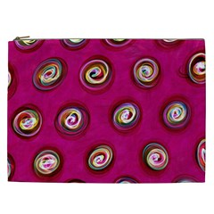 Digitally Painted Abstract Polka Dot Swirls On A Pink Background Cosmetic Bag (xxl)  by Nexatart