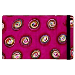 Digitally Painted Abstract Polka Dot Swirls On A Pink Background Apple Ipad 3/4 Flip Case by Nexatart