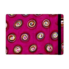 Digitally Painted Abstract Polka Dot Swirls On A Pink Background Apple Ipad Mini Flip Case by Nexatart