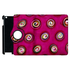 Digitally Painted Abstract Polka Dot Swirls On A Pink Background Apple Ipad 2 Flip 360 Case by Nexatart