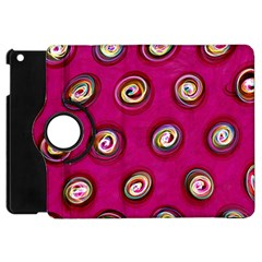 Digitally Painted Abstract Polka Dot Swirls On A Pink Background Apple Ipad Mini Flip 360 Case by Nexatart