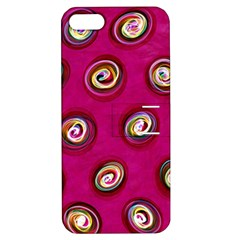 Digitally Painted Abstract Polka Dot Swirls On A Pink Background Apple Iphone 5 Hardshell Case With Stand