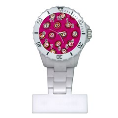 Digitally Painted Abstract Polka Dot Swirls On A Pink Background Plastic Nurses Watch by Nexatart