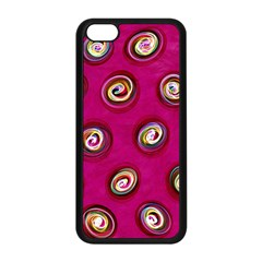 Digitally Painted Abstract Polka Dot Swirls On A Pink Background Apple Iphone 5c Seamless Case (black)