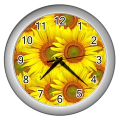 Sunflowers Background Wallpaper Pattern Wall Clocks (silver)  by Nexatart