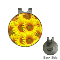 Sunflowers Background Wallpaper Pattern Hat Clips With Golf Markers by Nexatart