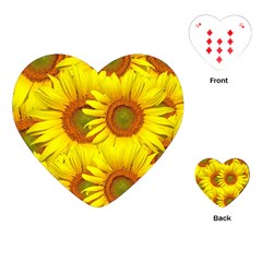 Sunflowers Background Wallpaper Pattern Playing Cards (heart)  by Nexatart