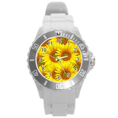 Sunflowers Background Wallpaper Pattern Round Plastic Sport Watch (l) by Nexatart