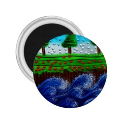 Beaded Landscape Textured Abstract Landscape With Sea Waves In The Foreground And Trees In The Background 2 25  Magnets by Nexatart