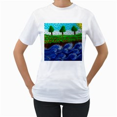 Beaded Landscape Textured Abstract Landscape With Sea Waves In The Foreground And Trees In The Background Women s T Shirt (white) (two Sided)