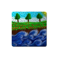Beaded Landscape Textured Abstract Landscape With Sea Waves In The Foreground And Trees In The Background Square Magnet
