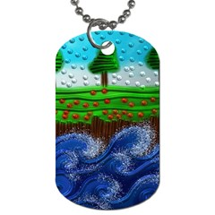 Beaded Landscape Textured Abstract Landscape With Sea Waves In The Foreground And Trees In The Background Dog Tag (two Sides) by Nexatart