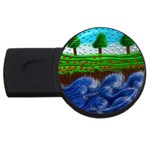 Beaded Landscape Textured Abstract Landscape With Sea Waves In The Foreground And Trees In The Background USB Flash Drive Round (2 GB) Front